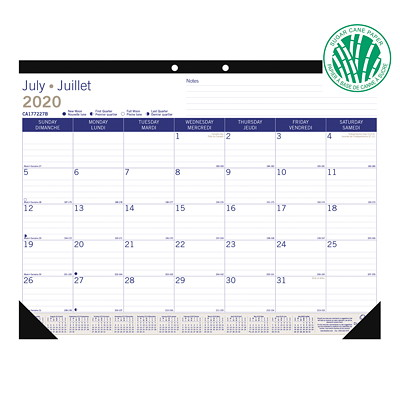 "Blueline DuraGlobe Sugar Cane Academic 13-Month Desk Pad Calendar, 22"" x 17"", July 2020 - July 2021, Bilingual SUGARCANE BASED PAPER 22 X 17  BILINGUAL"