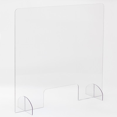 "Safco Portable Freestanding Sneeze Guard with Document Pass-Through, Clear, 30"" x 8"" x 28"" CLEAR  WITH OPENING"