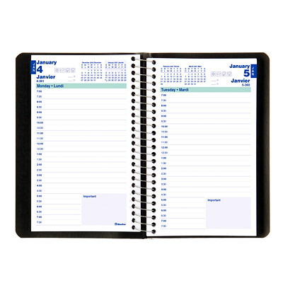 "Blueline 12-Month Daily Planner, 8"" x 5"", Black, January 2021 - December 2021, Bilingual  SOFT COVER 1DPP SPIRAL BLACK 50% PCW FSC CERTIFIED"