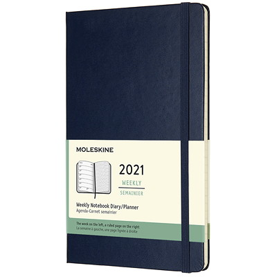 "Moleskine 12-Month Weekly Planner, 5"" x 8 1/4"", Blue, January 2021 - December 2021, English SAPPHIRE BLUE HARD"