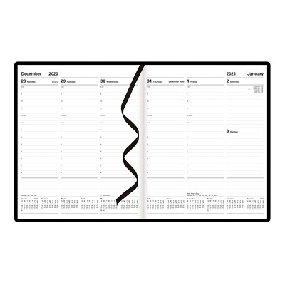 "Letts Principal 12-Month Weekly Planner, 10 1/4"" x 8 1/4"", Black, January 2021 - December 2021, English X 8-1/4 2PPW HARD COVER BLACK FSC CERTIFIED"