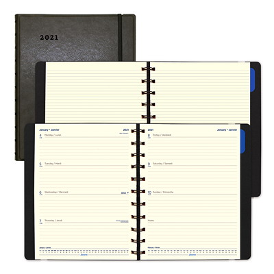 "Filofax 12-Month Weekly Planner, 10 7/8"" x 8 1/2"", Black, January 2021 - December 2021, Bilingual BILINGUAL  BLACK 10-7/8"" X 8-1/2"""