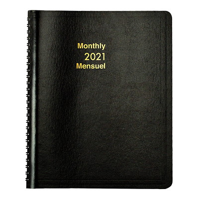 "Grand & Toy 12-Month Monthly Planner, 8 3/4"" x 6 7/8"", Black, January 2021 - December 2021, Bilingual BLK BILINGUAL  30% PCW"