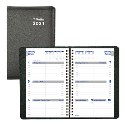 """Blueline Net Zero Carbon 12-Month Weekly Planner, 8"""" x 5"""", Black, January 2021 - December 2021, Bilingual TWIN-WIRE BINDING  SOFT COVER BILINGUAL  BLACK"""