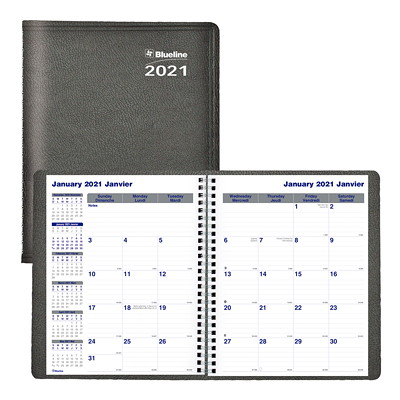 "Blueline Net Zero Carbon 14-Month Monthly Planner, 9 1/4"" x 7 1/4"", Black, December 2020 - January 2022, Bilingual TWIN-WIRE BINDING  SOFT COVER BILINGUAL  BLACK"