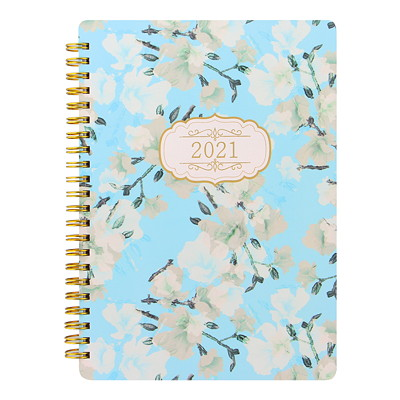 """Letts Bloom Weekly Planner, Blue Bloom Cover, 8 1/4"""" x 5 7/8"""", January 2021 - December 2021, Multilingual (6 languages: English, French, German, Italian, Dutch, and Spanish) GOLD BINDING  BLUE COVER MULTILINGUAL  8-1/4 X 5-7/8"""