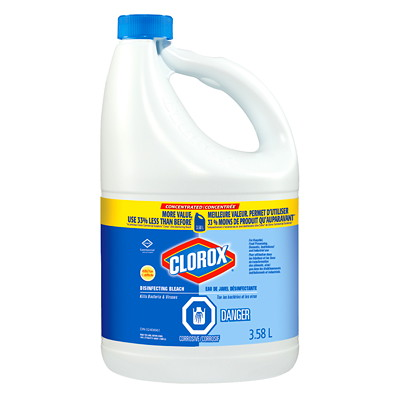 Clorox Commercial Grade Disinfecting Bleach, Concentrated, 3.58 L, 3/CT