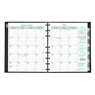 "Blueline EcoLogix CoilPro 14-Month Monthly Planner, 8 7/8"" x 7 1/8"", Black, December 2020 - January 2022, Bilingual  BIL 30% PCW PAPER BLACK"
