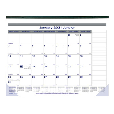 "Blueline Net Zero Carbon 12-Month Monthly Desk Pad Calendar, 22"" x 17"", January 2021 - December 2021, Bilingual ONE MONTH PER SHEET BILINGUAL"