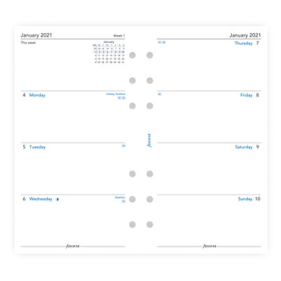 """Filofax 12-Month Weekly Personal-Size Planner Refill, 3 3/4"""" x 6 3/4"""", January 2021 - December 2021, English WEEK TO VIEW  UNRULED PERSONAL SIZE  ENGLISH"""