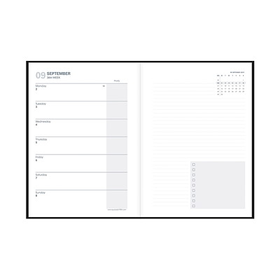 """Quo Vadis 16-Month Weekly Note 21 Planner, 6"""" x 8 1/4"""", Black, September 2020 - December 2021, English BLACK WITH MONTHLY CALENDAR EACH MON"""