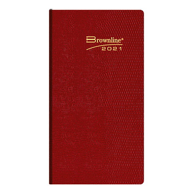 """Brownline 12-Month Weekly Pocket Planner, 6"""" x 3 1/8"""", Assorted Colours, January 2021 - December 2021, English ENGLISH ASST.CHA BLU RED GRN 50 % PCW  FSC CERT"""