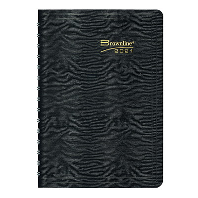 """Brownline Coil-Bound 12-Month Weekly Planner, 8 1/2"""" x 6 3/4"""", Black, January 2021 - December 2021, English ENGLISH BLACK  SOFT COVER 50% PCW"""