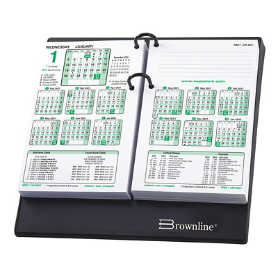 """Brownline 12-Month Money Dayfinder Daily Financial Calendar Refill, 7 1/4"""" x 4 3/4"""", January 2021 - December 2021, English 7-1/4 X 4-3/4 ENGLISH"""