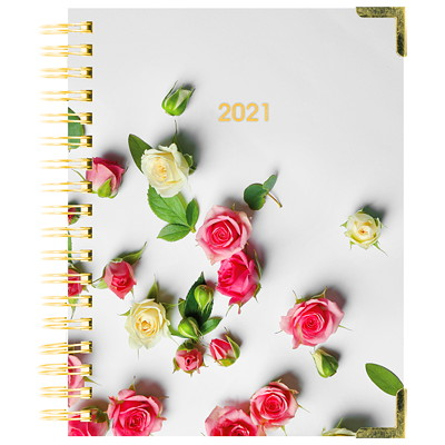"""Blueline 12-Month Romantic Weekly/Monthly Planner, 9 1/4"""" x 7 1/4"""", Rose Design, January 2021-December 2021, Bilingual ROMANTIC ROSES DESIGN BILINGUAL  9-1/4 X 7-1/4"""