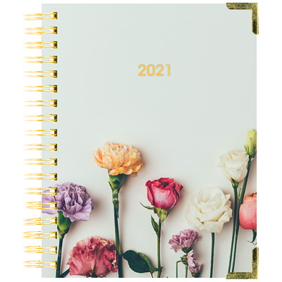 """Blueline 12-Month Romantic Weekly/Monthly Planner, 9 1/4"""" x 7 1/4"""", Flower Design, January 2021-December 2021, Bilingual ROMANTIC FLOWERS DESIGN BILINGUAL  9-1/4 X 7-1/4"""
