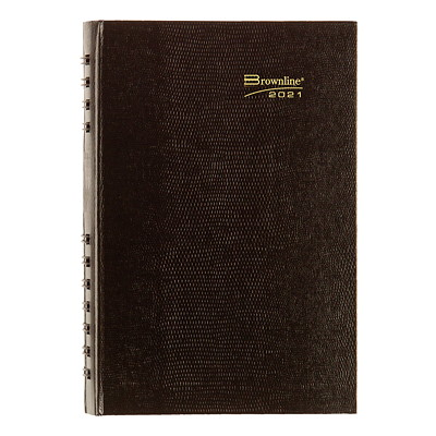 """Brownline CoilPro 12-Month Daily Planner, 8"""" x 5"""", Black, January 2021 - December 2021, English ENGLISH BLACK 50% PCW FSC CERTIFIED"""