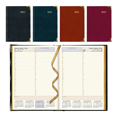 "Brownline 12-Month Executive Daily Planner, 10 3/4"" x 7 3/4"", Assorted Colours, January 2021 - December 2021, Trilingual  ASST BLK BURG 10-3/4X7-3/4 50% PCW"