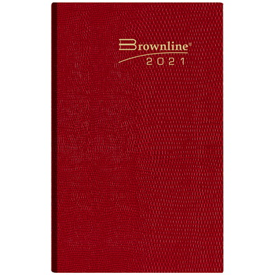 """Brownline Daily Pocket Planner, Assorted Colours (no colour choice on delivered orders), 4 3/4"""" x 3"""", January 2021 - December 2021, English ENGLISH ASST. CHRCL/BLUE/RED/ BROWNY 50% PCW FSC CERTIFIED"""