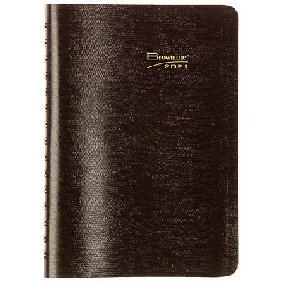 """Brownline Daily Planner, 8"""" x 5"""", Black, January 2021 - December 2021, English WIRE BOUND  SOFT COVER BLACK  7:00 A.M. TO 7:30 P.M."""