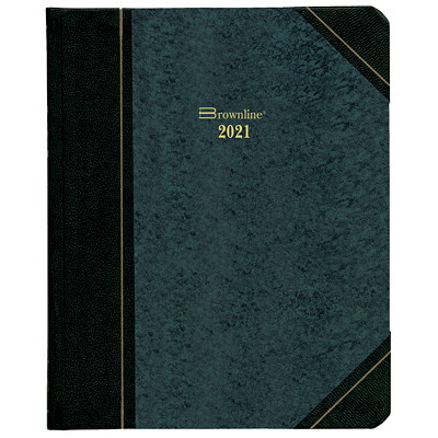 """Brownline 12-Month Daily Planner, 8 1/8"""" x 6 9/16"""", Black, January 2021 - December 2021, English ENGLISH GREEN MARBLE 50% PCW FSC CERTIFIED"""