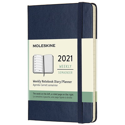 "Moleskine 12-Month Weekly Planner, 5"" x 3 1/4"", Blue, January 2021 - December 2021, English POCKET SAPPHIRE BLUE HARD"