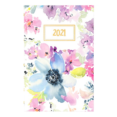 """Blueline MiracleBind 12-Month Weekly/Monthly Planner, 8"""" x 5"""", Passion Floral, January 2021 - December 2021, Bilingual PASSION FLORAL DESIGN BILINGUAL  8X5"""
