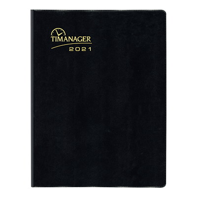 """Blueline Timanager 13-Month Weekly Planner, 11"""" x 8 1/2"""", Black, December 2020 - December 2021, English 11"""" X 9 1/16"""" ENGLISH ONLY 50% PCW FSC CERTIFIED"""