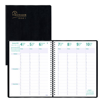 "Blueline Timanager 13-Month Weekly Planner, 11"" x 8 1/2"", Black, December 2020 - December 2021, English 11 X 8-1/2 ENGLISH 50% PCW FSC CERTIFIED"