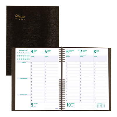 "Blueline Timanager CoilPro 13-Month Weekly Planner, 10 1/4"" x 7 5/8"", Black, December 2020 - December 2021, English WKLY 10-1/4 X7-5/8 ENGLISH BLK 50% PCW FSC CERTIFIED"