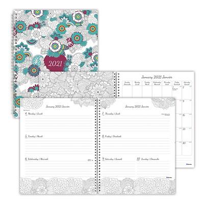 "Blueline Botanica DoodlePlan 12-Month Weekly Planner, 11"" x 8 1/2"", January 2021 - December 2021, Bilingual BOTANICA DESIGN  BILINGUAL FLEXIBLE COVER  11 X 8 5"