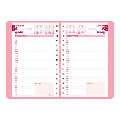 "Blueline Pink Ribbon 12-Month Daily Planner, 8"" x 5"", Pink Floral, January 2021 - December 2021, Bilingual BILINGUAL  7:00AM TO 7:30PM 50% PCW FSC CERTIFIED"