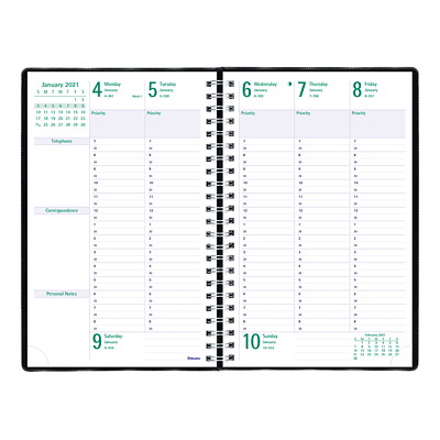 """Blueline Timanager 13-Month Weekly Planner, 9 1/16"""" x 5 7/8"""", Black, December 2020 - December 2021, English 9-1/16 X 5-7/8  ENGLISH 50% PCW  FSC CERTIFIED"""