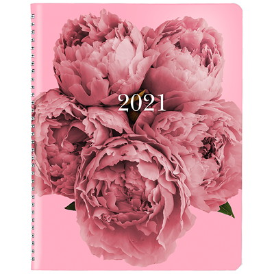 "Blueline Pink Ribbon 13-Month Weekly Planner, 8 1/2"" x 6 3/4"", Pink Floral, December 2020 - December 2021, Bilingual  8.5X6.75 TWIN WIRE BINDING BILINGUAL 50% PCW FSC CERT"