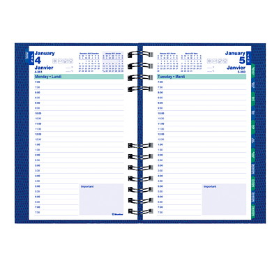 """Blueline CoilPro 12-Month Daily Planner, 8"""" x 5"""", Charcoal, Raspberry, Navy Blue or Turquoise (no colour choice on delivered orders), January 2021-December 2021, Bilingual  TWIN-WIRE BINDING  HARD COVER ASSORTED COLOURS  BILINGUAL"""