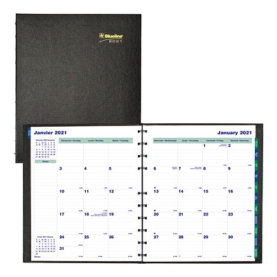 "Blueline MiracleBind CoilPro 16-Month Monthly Planner, 11"" x 9 1/16"", Black, September 2020 - December 2021, Bilingual  HARD COVER  TWIN WIRE BLK BILINGUAL 50%PCW FSC CERTIFIED"