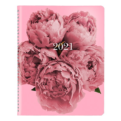 """Blueline Pink Ribbon 14-Month Monthly Planner, 8 7/8"""" x 7 1/8"""", Pink, December 2020 - January 2022, Bilingual SOFT COVER  TWIN WIRE BILINGUAL 50% PCW FSC CERT"""