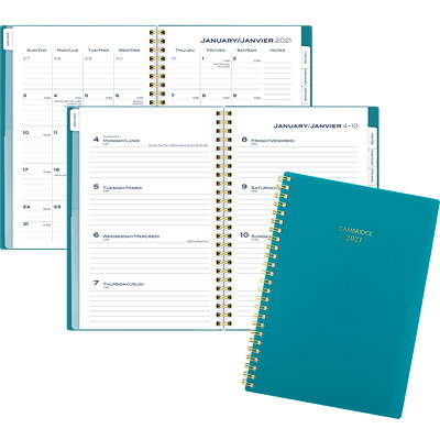 "Cambridge 12-Month Weekly/Monthly Planner, 8 1/2"" x 5 1/2"", Teal Colour Bar Collection, January 2021 - December 2021, Bilingual WEEKLY/MONTHLY SMALL - BILINGUAL - TEAL"
