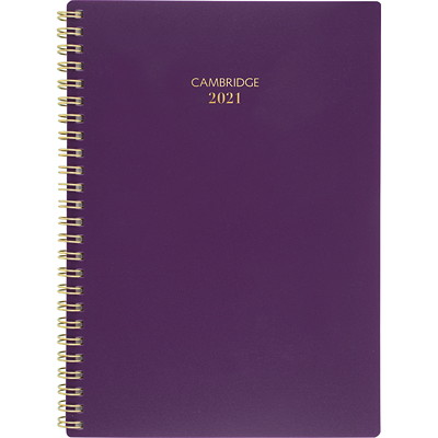 """Cambridge 12-Month Weekly/Monthly Planner, 8 1/2"""" x 5 1/2"""", Purple Colour Bar Collection, January 2021 - December 2021, Bilingual WEEKLY/MONTHLY SMALL - BILINGUAL - PURPLE"""