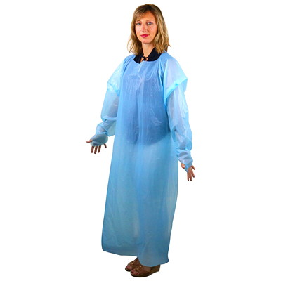 Crownhill Level 1 Universal Gown, Blue, 15/PK APRON STYLE LIGHTWEIGHT