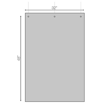 "Sterling Hanging Sneeze Guard Acrylic Partition, 31"" x 47"" 31""W X 47""H X 0.030"" 3 HOLES AT TOP FOR HANGING"