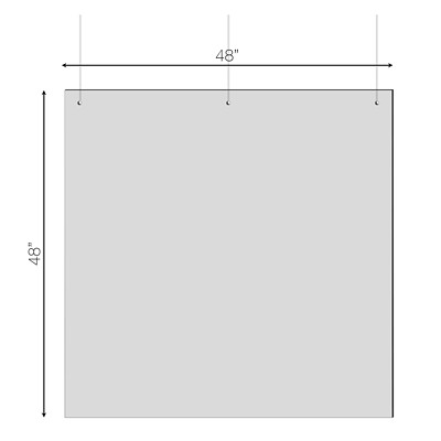 "Sterling Hanging Sneeze Guard Acrylic Partition, 48"" x 48"" 48""W X 48""H X 0.030"" 3 HOLES AT TOP FOR HANGING"