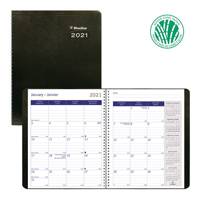 "Blueline DuraGlobe Sugar Cane 14-Month Monthly Planner, 8 7/8"" x 7 1/8"", Black, December 2020 - January 2022, Bilingual SUGARCANE BASE  8 7/8 X 7 1/8"" SOFT CORINTH COVER  BLK  BIL."