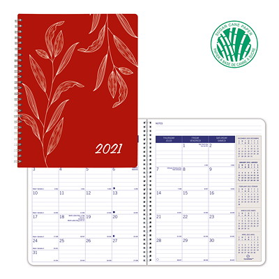"Blueline Joyful DuraGlobe Sugar Cane 14-Month Monthly Planner, 8 7/8"" x 7 1/8"", Red, December 2020 - January 2022, Bilingual FLEX. COVER  JOYFUL  BIL.  8-7/8"" X 7-1/8"""