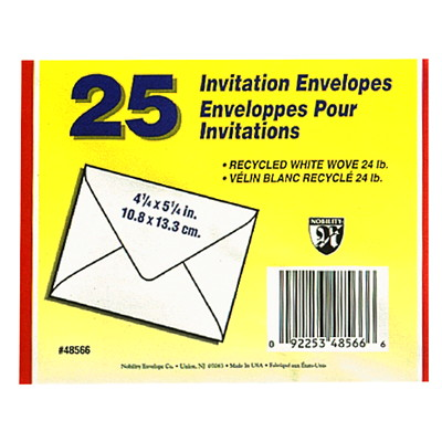 Quality Park White Invitation Envelopes RECYCLED 24LB