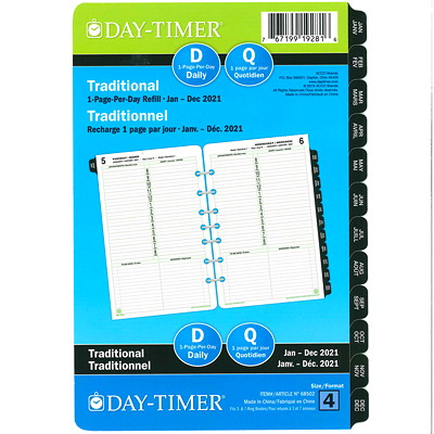 "Day-Timer 12-Month Daily Planner Refill, 8 1/2"" x 5 1/2"", January 2021 - December 2021, Bilingual  PPD 5.5X8.5 BILLINGUAL 30% PCW"