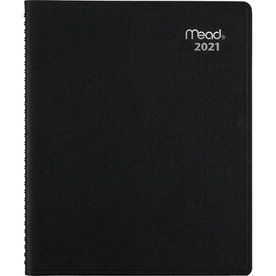 """Mead Contempo Recycled 12-Month Monthly Planner, 11"""" x 9"""", Black, January 2021 - December 2021, Bilingual APPOINTMENT BOOK BLACK"""