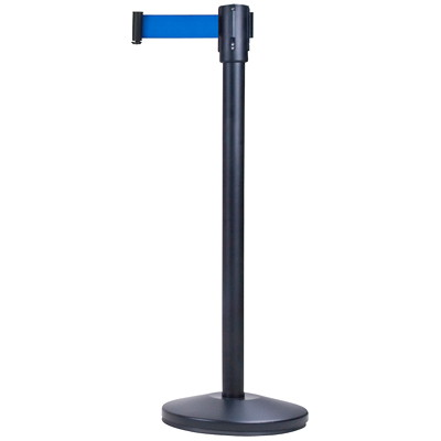 Zenith Safety Products Free-Standing Crowd Control Barrier, Black Frame/Blue Tape, 7'