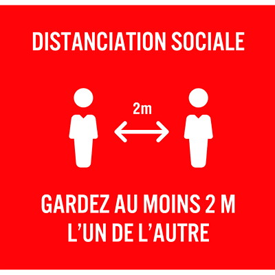 """Sterling Distanciation Sociale Badge Talkers, French, White on Red, 2 3/4"""" x 2 3/4"""", 10/PK PACK OF 10 0.020  STYRENE WITH ADHESIVE S"""