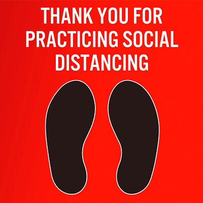 "Sterling Social Distancing Carpet Decal, English, Thank You For Practicing Social Distance, Black/White on Red, 12"" x 12"" QTY1-9"